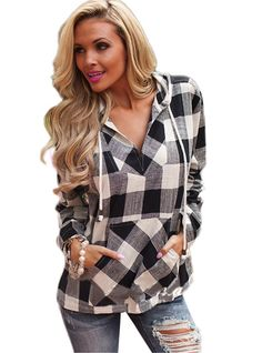 OURS Womens Plaid Long Sleeve V Neck Pullover Sweatshirt Casual Hoodie (S, Black)