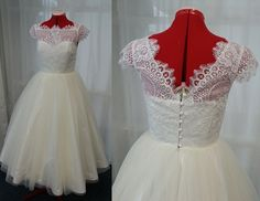 Silver Sixpence - 50s style lace & tulle tea length wedding dress