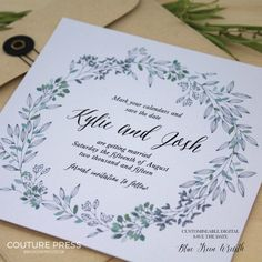 The Blue Green Wreath Save the Date from Couture Press features a gorgeous watercolour wreath paired with a whimsical modern calligraphy font and a