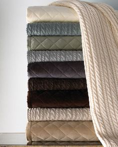 Quilted Velvet Coverlets & Cable Knit Throws by Ann Gish at Horchow.