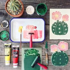 """4,647 Likes, 49 Comments - Creative & handmade community (@craftsposure) on Instagram: """"What's on your desk today? 🌵 Cacti woodblock prints by the lovely @liliarnoldstudios 🌸 Click on the…"""""""