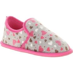 Super Cute Girls Heart Print Fleece Aline Canvas Slip-on Shoes Size XL (4-5) NW #Unknown #Slippers
