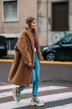 Max Mara coat - Nike ugly dad sneakers - denim - love this street fashion look