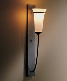 Direct wire wall sconce with glass options: Banded Wall Torch. Hubbardton Forge
