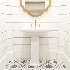 WEBSTA @ einteriors.design - Install day is off to a great start! This powder bath is too good to be true! Shiplap, cement tile, gold fixtures   reclaimed shelving  Follow along on snapchat for more sneak peeks - find me at: megpapworth.Need design help? Shoot us an email or check out our online platform where we give you all our best tips   tricks, save you money and tell you everything you need to know -- workshops.einteriors.design!