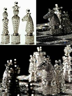 Diamond Chess Set: Charles Hollander's glitzy chess Made of 14-carat white gold and encrusted with over 9,000 diamonds, the Charles Hollander chess set is truly fit for a king -- or anyone else with half a million dollars and nothing better to spend it on.