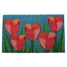Entryways Field of Tulips 17 in. x 28 in. Non Slip Coir Door Mat