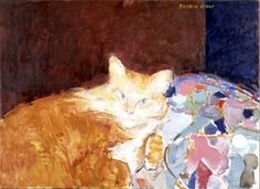 Ruskin Spear British) - Cats in Century at The Great Cat - Orange And White Cat, Impressionist Artists, Group Art, Pretty Cats, Pretty Kitty, Royal College Of Art, Maneki Neko, Ginger Cats, Cat Drawing
