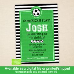 Soccer Party Invitation Soccer Birthday Invite by WithEnvyParties