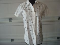NWT J crew  women   Collection beaded shirt item 84393  white 0 $59 #JCrew #ButtonDownShirt