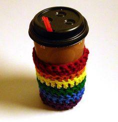Gay Pride Rainbow Coffee Cup Cozy 20 oz or 16 by NewPrideDesigns, $8.99