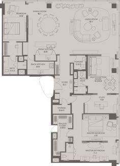 Standard Suites Unit F _ Four Seasons Place Pudong Apartment Floor Plans, House Floor Plans, Design Hotel, Layout Design, Floor Plan Sketch, Planer Layout, Yabu Pushelberg, Color Plan, Function Room