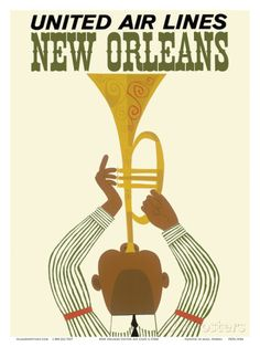 New Orleans - Jazz Trumpet Player - United Air Lines Posters sur AllPosters.fr