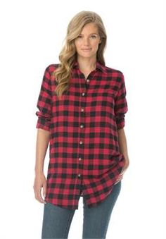 Plus Size Classic flannel bigshirt