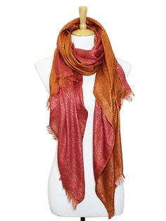 Two-Tone Taylor Scarf in Persimmon on Sorbet.