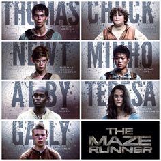 The Maze Runner character poster Thomas, Chuck, Newt, Minho, Alby, Teresa, Gally