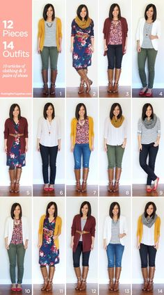 12 Pieces, 14 Outfits - Fall Packing 2014 - Putting Me Together : Thanksgiving vacation capsule wardrobe Teacher Wardrobe, Capsule Wardrobe Work, Teacher Clothes, Fall Wardrobe Essentials, Wardrobe Basics, Look Fashion, Autumn Fashion, Fashion Outfits, Womens Fashion