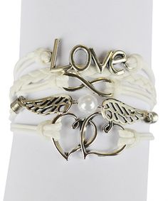 Loving this White 'Love' Angel Wing Braided Leather Bracelet on #zulily! #zulilyfinds