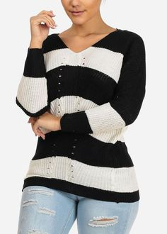Cozy Long Sleeve V Neckline Black And White Stripe Knitted Sweater Top White Knit Sweater, Black Knit, Girls Blue Dress, Navy Floral Dress, Career Wear, Dressy Tops, Striped Knit, Stripe Print, Black Sweaters
