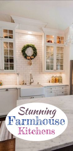 BEAUTIFUL country kitchens in the pictures below – Gorgeous, right?!?! And they all have a beautiful farmhouse sink in them… leaves me itching to remodel my kitchen right NOW!