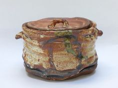 Shino glazed lidded Jar. Elena Renker.