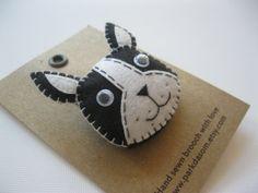 Hand sewn felt brooch bulldog by parkdasom on Etsy, $15.00