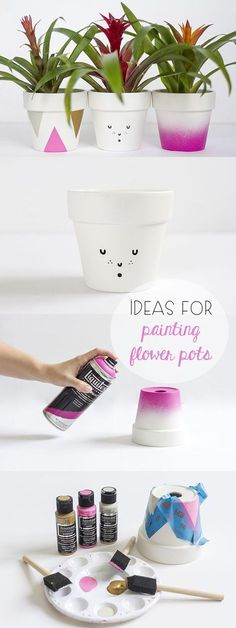 Ideas for Painting Flower Pots Cute! Fun ideas and ways to decorated terra cotta pots to liven up your home or garden. The cat is our favorite! Flower Pot Crafts, Clay Pot Crafts, Diy And Crafts, Pots D'argile, Clay Pots, Ceramic Pots, Painted Flower Pots, Painted Pots, Decorated Flower Pots