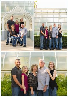 Adult family portraits, family portrait ideas, family picture poses, pose, adult siblings, family session, downtown, green house, gardens