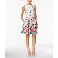Ivanka Trump Floral-Print Popover Fit & Flare Dress ($138) ❤ liked on