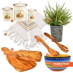 În bucătărie ai mereu nevoie de inspirație. 1. Recipient depozitare Normandie 2. Prosop bucătărie Natural  3. Plantă artificială în ghiveci  4. Tocător Chalet  5. Set 2 spatule Chalet  6. Bol Fiesta #moodboard #bucatarie #decoideea