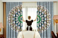Beautiful Peacock Feather Mandala Printed Cotton Fabric Curtain, Window Hanging. These Curtains have a Rod Pocket Sewn Into the Top and simply slides onto most standard curtain rods. #Tapestry #Beautiful #Indian #Cotton #Fabric #Door #Window #Balcony #Curtain #Window #Hanging #Wall #Drapery #Room #Divider #Drape #Traditional #bohemian #boho #Hippie #Gypsy #Soul #Panel #Valances #animal #love
