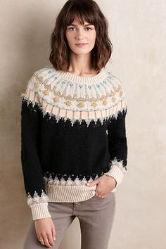 Great colors and mix of textures but the collar?; something about it I think would look weird on me.  Beaded Fairisle Pullover #anthropologie