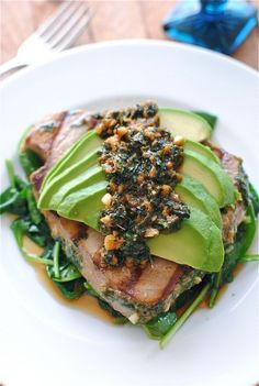 Grilled Citrus Tuna Steak with Avocado and Spinach. Serve with brown rice, quinoa or brown couscous etc.