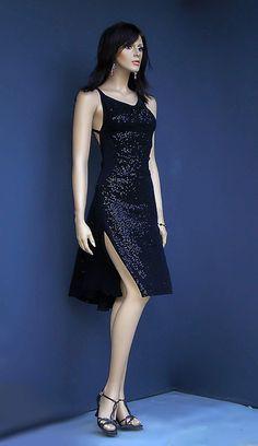 ta 113 black sequins tango dress