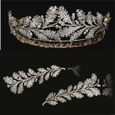 Diamond tiara, Early 19th Century  Designed as two confronting sprays of oak leaves tapering from the centre, set throughout with old mine diamonds,   accompanied by fitted case stamped Carrington & Co. Jewellers, 130 Regent St., London .W. inner circumference approximately 370mm, may also be worn as four brooches, one diamond deficient,