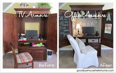 goodbye, house. Hello, Home! Homemaking, Interior Design Blog, Staging, DIY: TV Armoire to Office Armoire {DIY Blogger Challenge} Armoire Tv, Computer Armoire, Armoire Redo, Attic Apartment, Attic Rooms, Attic Loft, Attic Library, Attic Bathroom, Attic Office