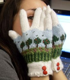 Knitted Landscape mittens