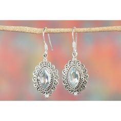 Precious Blue Topaz 925 Silver Chandelier Earrings via Polyvore featuring jewelry, earrings, silver earrings, silver chandelier earrings, silver jewelry, blue topaz chandelier earrings and blue topaz earrings