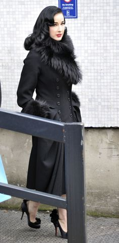 Dita von Teese- black fur coat I love all of this. Faux furr of course though  Love this coat!!!