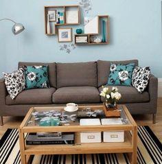 Decoração marrom e turquesa para a sala - Brown and blue decoration