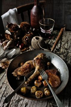 Chicken thighs with pears, chestnuts, rosemary and Port wine.