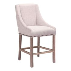 It's time to spruce up that breakfast bar. Keep it classy with our super chic counter chair. Made from solid oak wood with distressed finish, a fresh polyester linen, and antiqued nailhead detail, thi