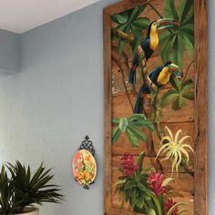 💚🧡PAINEL GIGANTE DE DEMOLIÇÃO COM TUCANOS EM ÁREA EXTERNA. SUA CASA MERECE ESSE ENCANTO DESENVOLVIDO POR M.BENITES EM SEU ATELIER NA… Rustic Pictures, Coloring Book Art, Wood Flowers, Bird Drawings, Fractal Art, Bird Art, Art World, Painting On Wood, Art Projects