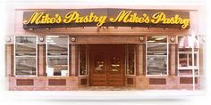 """Mike's Pastry on Hanover Street in """"Little Italy,"""" the North End, Boston.  Cannoli from heaven!  (My vote is for the traditional with chocolate chips!)"""