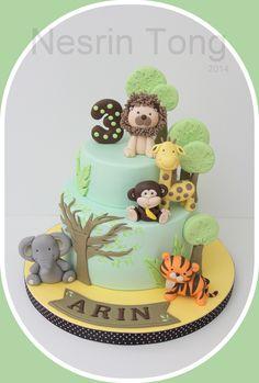 Ideas baby shower ideas for boys animals first birthdays Boys 1st Birthday Cake, Safari Theme Birthday, Jungle Theme Cakes, Safari Cakes, Baby Shower Cakes, Zoo Cake, Themed Cakes, Party Cakes, First Birthdays