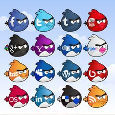 Angry Birds Inspired Social Media Icons