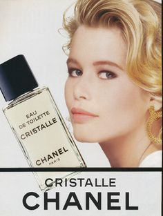 Vintage Chanel perfume ad featuring Claudia Schiffer (1990)