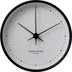 Georg Jensen 15 cm wall clock, stainless steel black with white dial designed by Henning Koppel