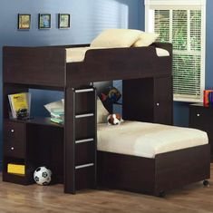 Herbert Twin Bed 3 Piece Loft Bed with Twin Bed on Casters