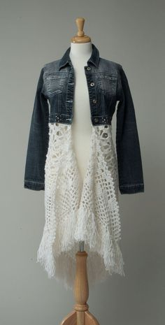 Women's repurposed jean jacket crochet skirt